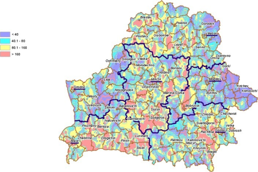 Nitrate concentration (mg/L) in groundwater from open wells in different areas of Belarus in 1988–1990.Borders and oblast administrative centers are highlighted in violet.
