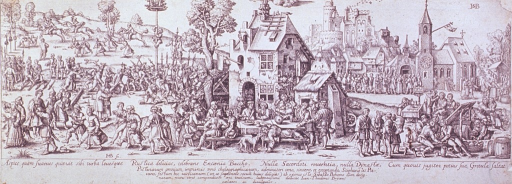 <p>A toothpuller at work in the right middle distance of an exterior scene of a market day.  People are eating at an outdoor table, one vomiting.</p>