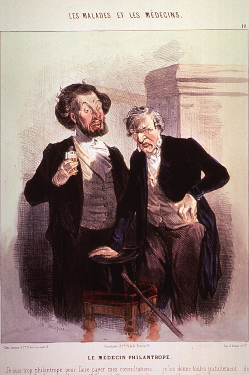 <p>An old man and a young man are standing together, the old man has his hand on a top hat on a stool against which is leaning a walking stick.</p>