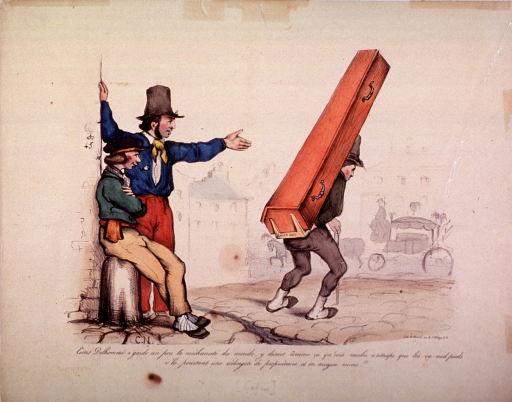 <p>Two men watch as another man carries a coffin on his back.  A horse-drawn hearse waits in the background.</p>
