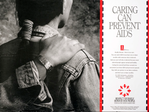 <p>Predominantly black and white poster with gray lettering and red highlights.  All text on right side of poster.  Title at top.  Lengthy caption discusses ways to prevent AIDS.  Note, publisher and sponsor information near bottom of poster.  Visual image is a b&amp;w photo reproduction featuring a person standing with his (?) back to the viewer.  Another person, who is mostly outside of the range of the photo, has a hand on that person's shoulder.</p>