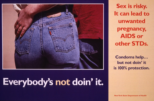 <p>Tan and navy blue poster illustrated with a color photograph of the jeans-clad posteriors of two people.  One of the people places a hand on the other's posterior.  The title is printed in white, except the word &quot;not,&quot; which is printed in tan.  The remaining text is printed in red and navy blue.</p>