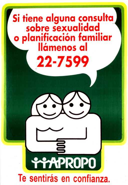 <p>Mostly green background with yellow border and red lettering. Most of the poster is a line drawing of man and woman (with a cartoon-quality appearance) smiling and their hands are joined. Above them is a bubble caption containing the poster title. Below the couple is the word APROPO and below that is the picture caption.</p>