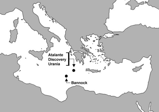 Location of the four deep-sea hypersaline anoxic basins within the Eastern Mediterranean Sea (coordinates for the basins: L'Atalante 35.18 N 21.41 E, Discovery 35.17 N 21.41 E, Urania 35.14 N 21.31 E, Bannock 34.17 N 20.00 E).