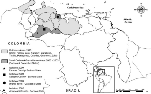 Map of Venezuela showing locations of the 1995 Venezuelan equine encephalitis outbreak and the small outbreaks of 2000 and 2003, along with surveillance study sites.