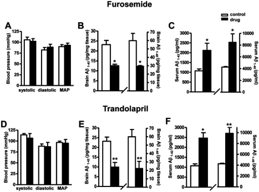 Effect of Aβ -promoting drugs treatment on blood pressure and amyloid neuropathology in Tg2576 mice.(A and D) Measurements of systolic, diastolic blood pressure, and mean arterial blood pressure (MAP) in response to ∼4 weeks of drug treatments. (B and E) Assessment of Aβ1-42 and Aβ1-40 peptide concentrations in the brain of drug treated mice vs. the control mice. (C and F) Assessment of Aβ1-42 and Aβ1-40 in peripheral blood of drug treated mice vs. the control mice. Values represents group mean values (±SEM); n = 3–5 mice per group. **P<0.01, *P<0.05, 2-tailed student t-test.
