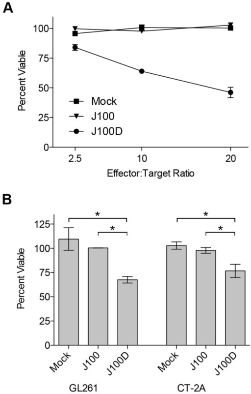 Reduced viability of tumor cells following co-culture with NK cells and J100D-produced mIL-15/IL-15Rα.Enriched murine NK cells were co-cultured for 3 days with syngeneic murine glioma cells. The cells were co-cultured in the presence of supernatant obtained from cells that were mock infected, or infected with J100, or J100D as described in the Methods. Cells co-cultured with supernatant derived from J100D infection were cultured in the presence of 10ng/mL of the J100D-produced mIL-15/IL-15Rα complex. Percent viability was assayed by colorimetric conversion of the MTT reagent after 72 hours of co-culture. A) 4C8 glioma targets cultured at increasing effector:target ratios with syngeneic B6D2F1 enriched NK cells. Data represents average values with standard deviations from triplicate samples. B) GL261 and CT-2A glioma targets cultured at an effector:target ratio of 2:1 with syngeneic C57Bl/6 enriched NK cells. Data represents the average value from two independent experiments performed with triplicate samples. Error bars indicate standard deviation. * p < 0.05 for J100D measurements compared separately to mock and J100 measurements.