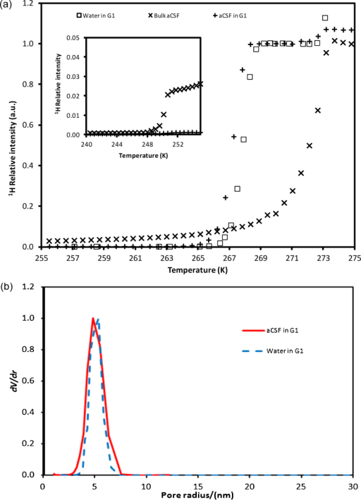 (a) NMR cryoporometry melting curve data for bulk aCSF solution, and for aCSF imbibed in silica G1, and also for pure water in G1. The inset shows the same data curves at low temperatures. (b) Differential pore size distributions derived from melting curves for pure water and aCSF imbibed in samples from batch G1.