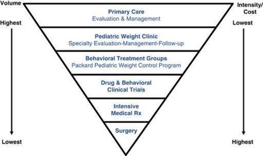 Clinical programs of the Center for Healthy Weight. The inverted pyramid illustrates the full spectrum of clinical programs ranging from primary care evaluation and management, serving the greatest volume of patients at the lowest cost per patient, to bariatric surgery for adolescents, treating the fewest number and most severe patients at the highest cost per patient. Descriptions of specific programs are included in the text.