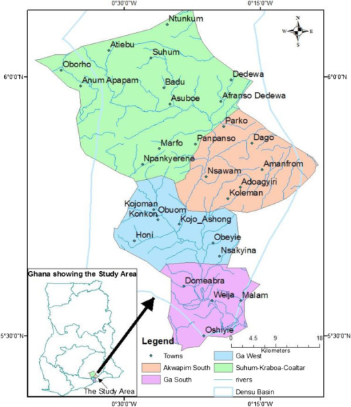 Map of the Densu River and the districts where the acti   Open-i
