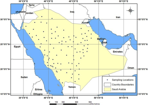 Sampling location map showing the study area in Saudi A   Open-i