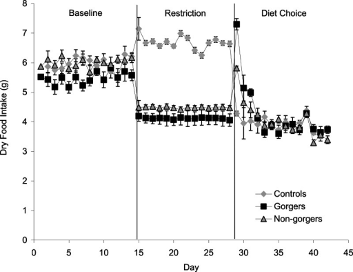 Mean daily dry food intake (g/day) during baseline, restriction and diet choice for the three groups (controls, gorgers and non-gorgers).The diet choice period is the combined intake for high fat, protein and carbohydrate diets. Standard error bars are shown.
