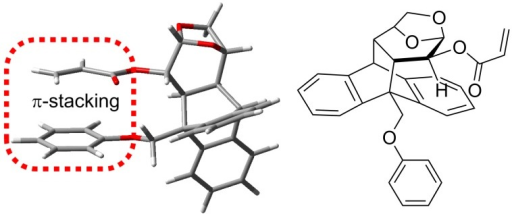 Intramolecular aryl–vinyl π-stacking interaction of a levoglucosenone derivative.