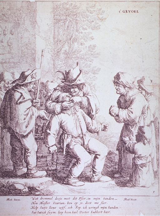 <p>A dentist has set up an open-air shop; he is extracting a man's tooth; a small group of sympathetic friends and relations has come to watch.</p>