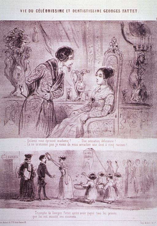 <p>Scenes from the life of Georges Fattet, dentist:  Top, he bows before a queen; bottom, in a street procession, a woman places a crown on his head and children throw flower petals along his path.</p>