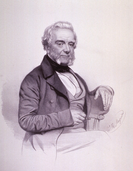 <p>Seated, three quarter length, right pose; one hand on back of chair (ring on little finger) and other holding glasses.</p>