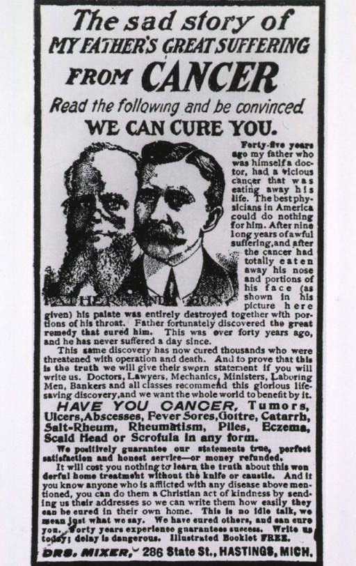 <p>Head and shoulders of 'Father and Son' with accompanying advertising text.</p>