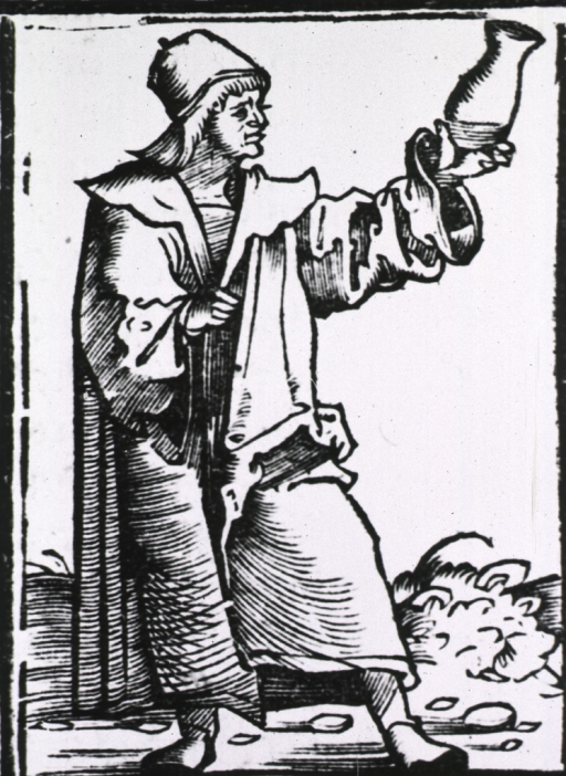 <p>A physician, standing, full length to the right, is holding up a urine flask examining the contents.</p>