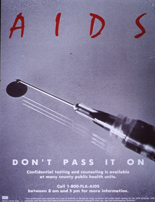 <p>Predominantly gray poster with red and white lettering.  Initial title word at top of poster.  Visual image is a reproduction of a black and white photo of a syringe, with a dark pool suggestive of blood below the sharp end of the needle.  Remaining title phrase and caption below syringe.  Publisher information at bottom of poster.</p>