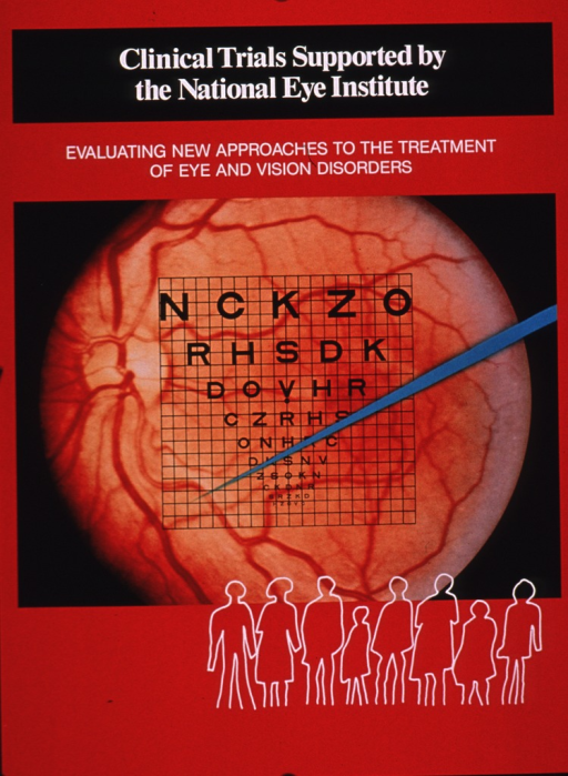 <p>Predominantly red and black poster with white lettering.  Title at top of poster.  Visual image is a color photo reproduction featuring a magnification of the blood vessels in the eye.  A vision chart is superimposed on the photo.  Outlines of people of varying sizes appear below the photo.</p>