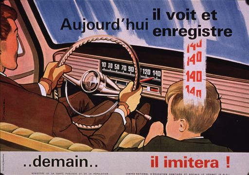<p>Multicolor poster with black and red lettering.  Initial title phrase at top of poster.  Visual image is an illustration of a man driving a car; the speedometer reads 140.  A boy sits next to the man.  There are several iterations of 140 above his head.  Remaining title text and publisher information at bottom of poster.</p>