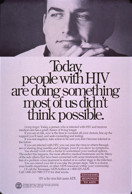 <p>Predominantly white poster with black and white lettering and burgundy highlights.  Visual image is a black and white photo reproduction showing a young man's face.  Title and lengthy caption below photo.  Caption addresses HIV prevention and the importance of early treatment for HIV infection.  Publisher information in lower left corner.  Note in lower right corner.</p>
