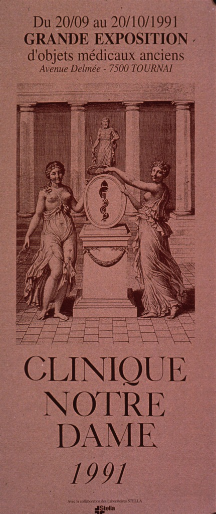 <p>Predominantly tan poster with brown lettering announcing an exhibit of historical medical objects.  Dates and location of exhibit and note at top of poster.  Visual image is an illustration of two women flanking a shield that bears the rod of Aesculapius.  The shield sits on a pedestal.  A statue of Aesculapius is visible in the background.  Title and sponsor information below illustration.</p>