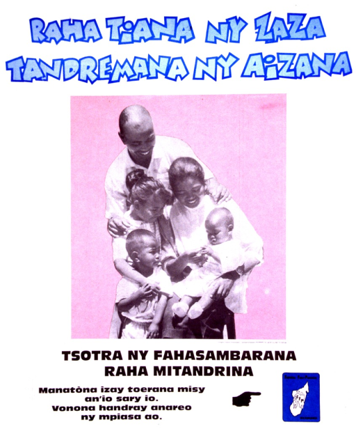 <p>Predominantly white poster with blue and black lettering.  Title at top of poster.  Title may suggest that loving a child means being able to care for it.  Visual image is a reproduction of a b&amp;w photo of a five-member family.  Caption below photo appears to suggest that happiness comes from taking care (i.e., family planning).  Note below caption may direct reader to go to places bearing the publisher's logo.  An illustration of a hand points to the publisher name and logo in lower right corner.</p>