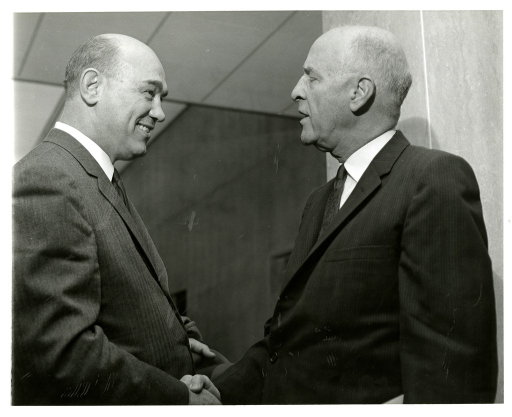 <p>Senator Joseph Lister Hill of Alabama greets Wisconsin Representative Melvin Robert Laird at the NLM Dedication Ceremony in December, 1961.</p>