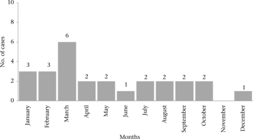 Seasonality of intussusception cases in CMC, Hospital, Vellore, India, January 2001–December 2003*