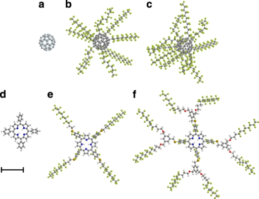 Gallery of molecules used in our interference study.(a) The fullerene C60 (m=720 AMU, 60 atoms) serves as a size reference and for calibration purposes; (b) The perfluoroalkylated nanosphere PFNS8 (C60[C12F25]8, m=5,672 AMU, 356 atoms) is a carbon cage with eight perfluoroalkyl chains. (c) PFNS10 (C60[C12F25]10, m=6,910 AMU, 430 atoms) has ten side chains and is the most massive particle in the set. (d) A single tetraphenylporphyrin TPP (C44H30N4, m=614 AMU, 78 atoms) is the basis for the two derivatives (e) TPPF84 (C84H26F84N4S4, m=2,814 AMU, 202 atoms) and (f) TPPF152 (C168H94F152O8N4S4, m=5,310 AMU, 430 atoms). In its unfolded configuration, the latter is the largest molecule in the set. Measured by the number of atoms, TPPF152 and PFNS10 are equally complex. All molecules are displayed to scale. The scale bar corresponds to 10 Å.
