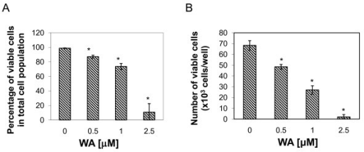 Effect of WA on MCF-7 cell proliferation as measured by Trypan blue exclusion assay. Cells were treated with DMSO or the indicated concentrations of WA for 24 h. A, percentage of viable cells in total cell population; B, the number of viable cells. Data were presented as mean (n = 3) ± SD. *, P < 0.05, significantly different from control by one-way ANOVA.