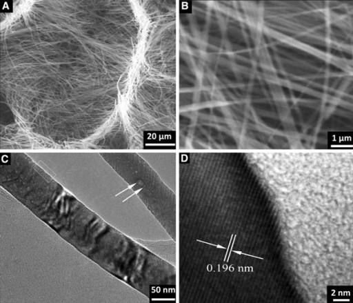a, b SEM images of NaNbO3 nanobelt at different magnifications. c TEM image of a single nanobelt. The arrow in top right shows a surface pit. d HRTEM image of the selected area in c.