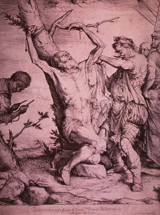 <p>Saint Bartholomy is being flayed while tied to a tree.</p>