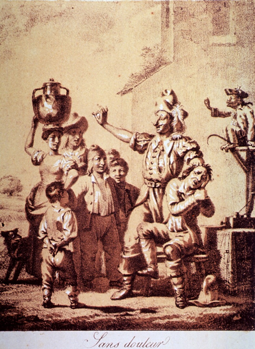 <p>An itinerant dentist displays the tooth he has just removed from a young man to a small group that had gathered to watch; the patient is sitting on a stool; a monkey mimics the dentist.</p>