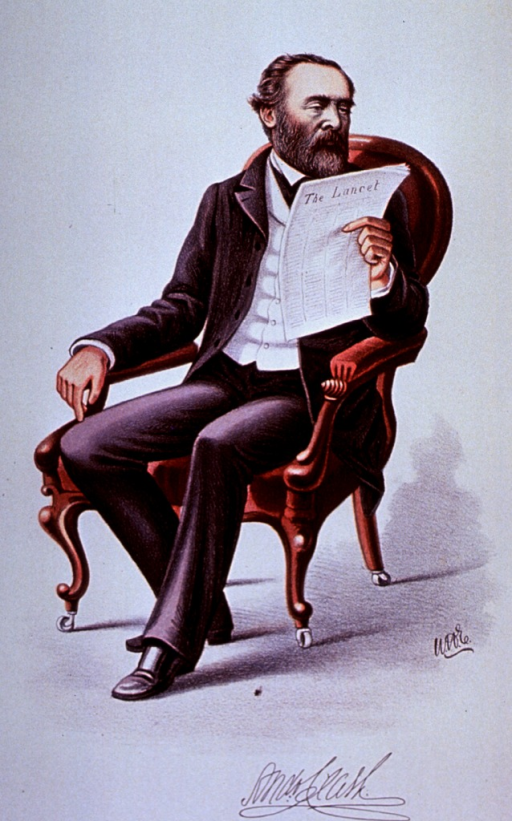 <p>Full length, seated, reading The Lancet.</p>