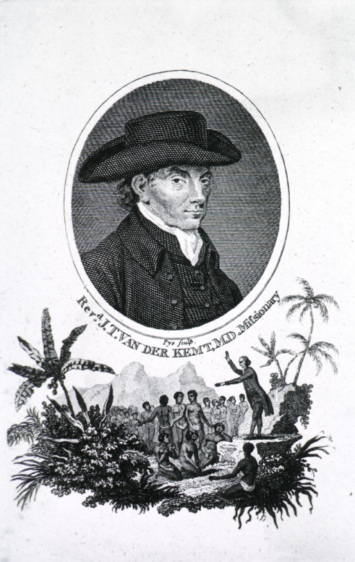 <p>Half length, right pose, face almost front; wearing hat.  Tail-piece with group of savages in tropical landscape, with Rev. Van Der Kemt preaching.</p>
