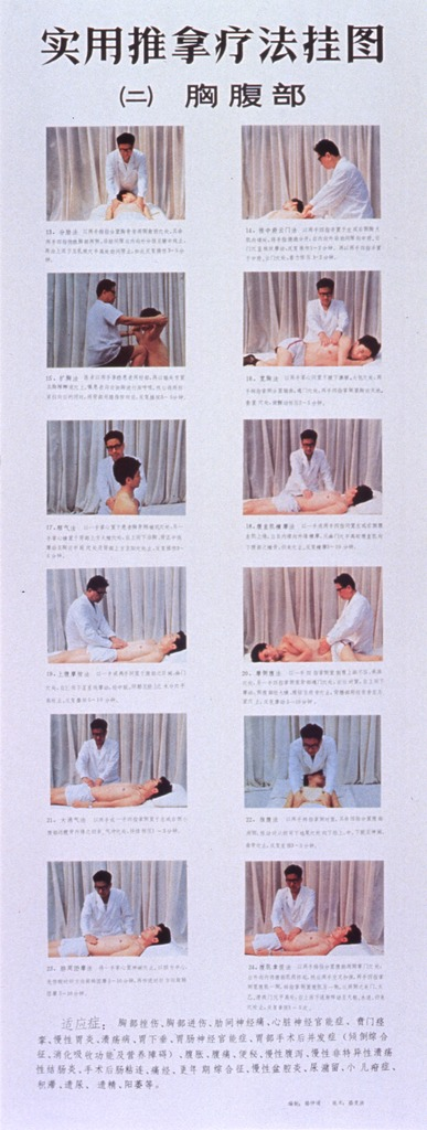 <p>Predominantly white poster with black lettering.  All text in Chinese characters.  Visual images are twelve color photo reproductions showing a man receiving what appears to be acupressure treatments on his torso and ribs.  Photos accompanied by text, with additional text at bottom of poster.</p>