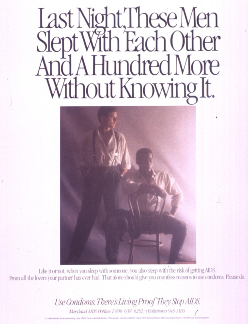 <p>Predominantly white poster with black lettering.  Title at top of poster.  Visual image is a color photo reproduction featuring two men.  One stands and one sits.  Caption below photo.  Note below caption.  Publisher information at bottom of poster.</p>