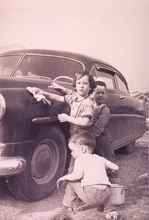 <p>Three children are washing the car.</p>