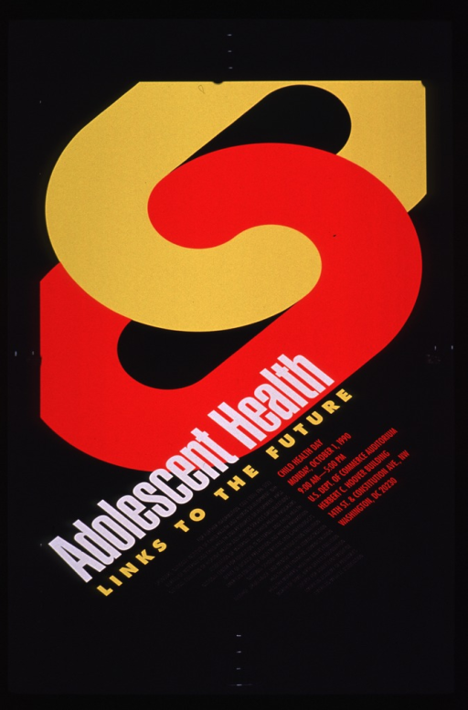 <p>Predominantly black poster with multicolor lettering announcing an event for Child Health Day.  Visual image consists of two interlocking ovals, suggestive of links in a chain.  Title, note, and publisher and sponsor information in lower portion of poster.</p>