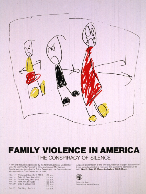 <p>The poster shows stick figures of three children in black, red, and yellow clothing.  Two of the children have angry expressions on their faces, and the third child has a sad face and is crying.  The remaining third of the poster lists the title, caption, dates, times, and locations for the viewing of the film.  The logo for the Division of Safety, Occupational Medical Service is at the bottom of the poster.</p>