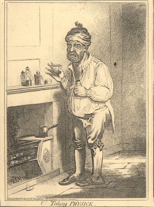 <p>A dishevelled man wearing a cap stands in front of a fireplace and holds a cup and a bottle in either hand.  On the mantel are other bottles of medications.  The man grimaces as he raises the cup.</p>
