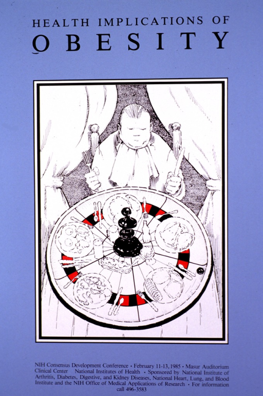 <p>Blue poster with a black and white sketched scene with an obese young man seated at a table with a napkin under his chin and holding a knife and fork, ready to eat. The table is designed to look like a roulette table with five dishes and silverware placed on it. The print is in black and gives the information about the event.</p>