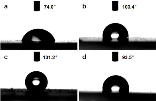Photographs of water droplet shape on the surface of (a) sample A; (b) sample B; (c) sample C; and (d) ZnO seed-layer film.
