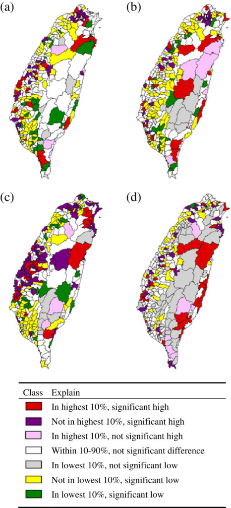Geographic patterns by lung cancer ASIR rank during 2001–2005. (a) male lung AC, (b) female lung AC, (c) male lung SCC, (d) female lung SCC. Detailed legend: Geographic patterns by lung cancer ASIR rank of male/female above 30 years old during 2001–2005. (a) male lung AC, (b) female lung AC, (c) male lung SCC, (d) female lung SCC.