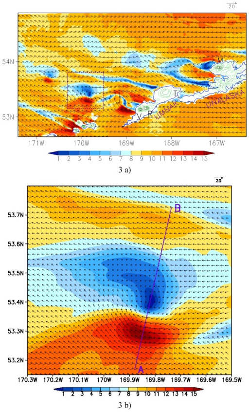 "MM5 model simulation of the AVS at 0500 UTC on January 14, 2004. (a) Wind fields (in m s-1) at the lowest model level (σ = 0.9986, i.e. about 10 m above the sea surface). Black arrows represent wind vectors and color-coding denotes wind speeds. Green lines denote topography over the islands with a contour interval of 300 m. The letters ""M"", ""V"", ""R"" and ""T"" represent Markushin Volcano, Mount Vsevidof, Mount Recheshnoi and Tulik Volcano, respectively. The rectangle domain is the lateral boundaries for figure b; (b) Detailed vortex structure within the rectangle domain in figure a. The line AB is the width of AVS."