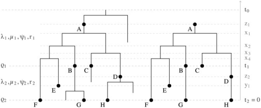 Full tree versus reconstructed tree.A full tree produced by the sampled ancestor birth-death process on the left and a reconstructed tree on the right. The sampled nodes are indicated by dots labeled by letters A through H. Nodes A, B and D are sampled ancestors. The reconstructed tree is represented by a sampled ancestor tree , where  denotes the ranked tree topology and , , and  denote the node ages. In the reconstructed tree the root is a sampled node. In the skyline model, birth-death parameters vary from interval to interval. There are two intervals in this figure bounded by the time of origin , parameter shift time , and present time . Between  and  parameters , ,  and  apply and between  and  parameters , , , and . There are additional sampling attempts at times  and  with sampling probabilities  and .