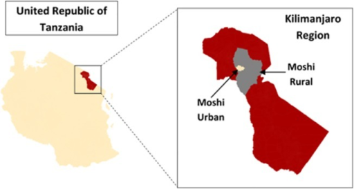 Study Setting.Map showing the sampling area of Moshi Urban and Moshi Rural in the Kilimanjaro Region of Northern Tanzania.