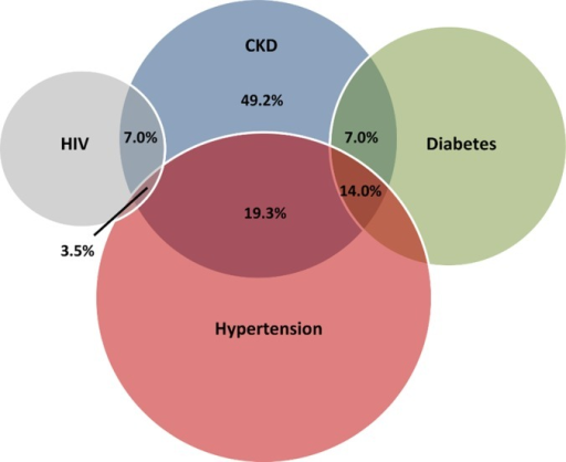 Venn diagram.The proportion of CKD associated with HIV, hypertension, and diabetes.